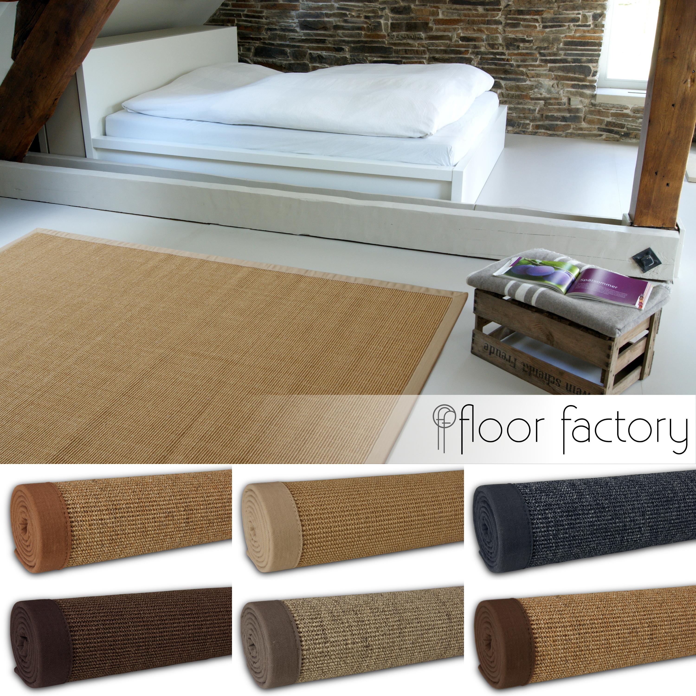 Alfombra natural de sisal borde de algod n 100 fibra - Alfombra fibra natural ...